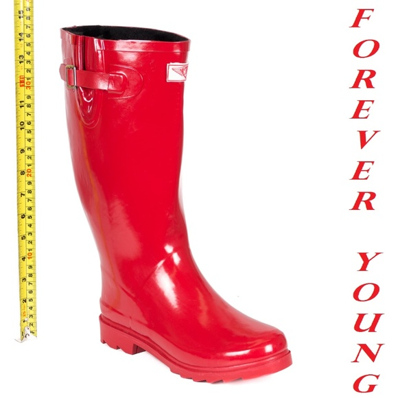 Forever Young Women Mid-Calf Black//Yellow Rubber RAIN Boot,6